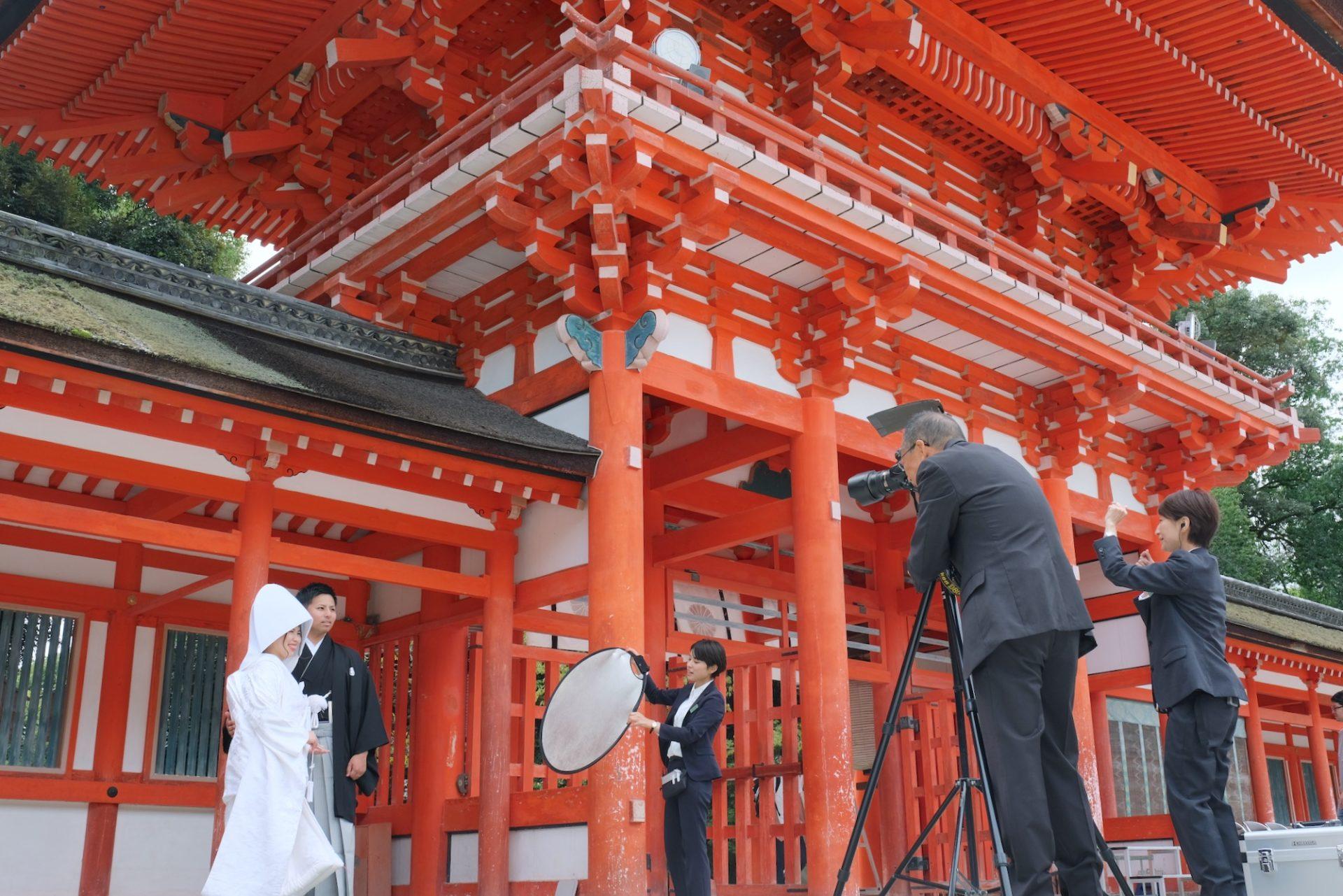 白無垢綿帽子で下鴨神社の結婚式