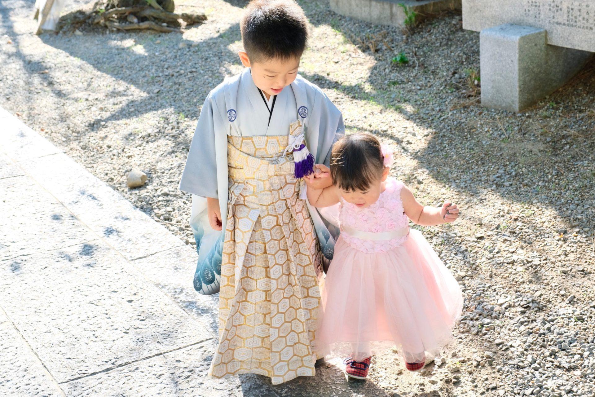 道明寺天満宮での七五三参りの写真