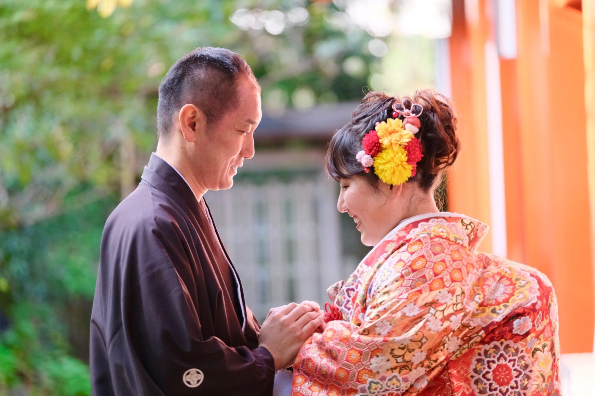 白無垢で熊野速玉大社の神前結婚式