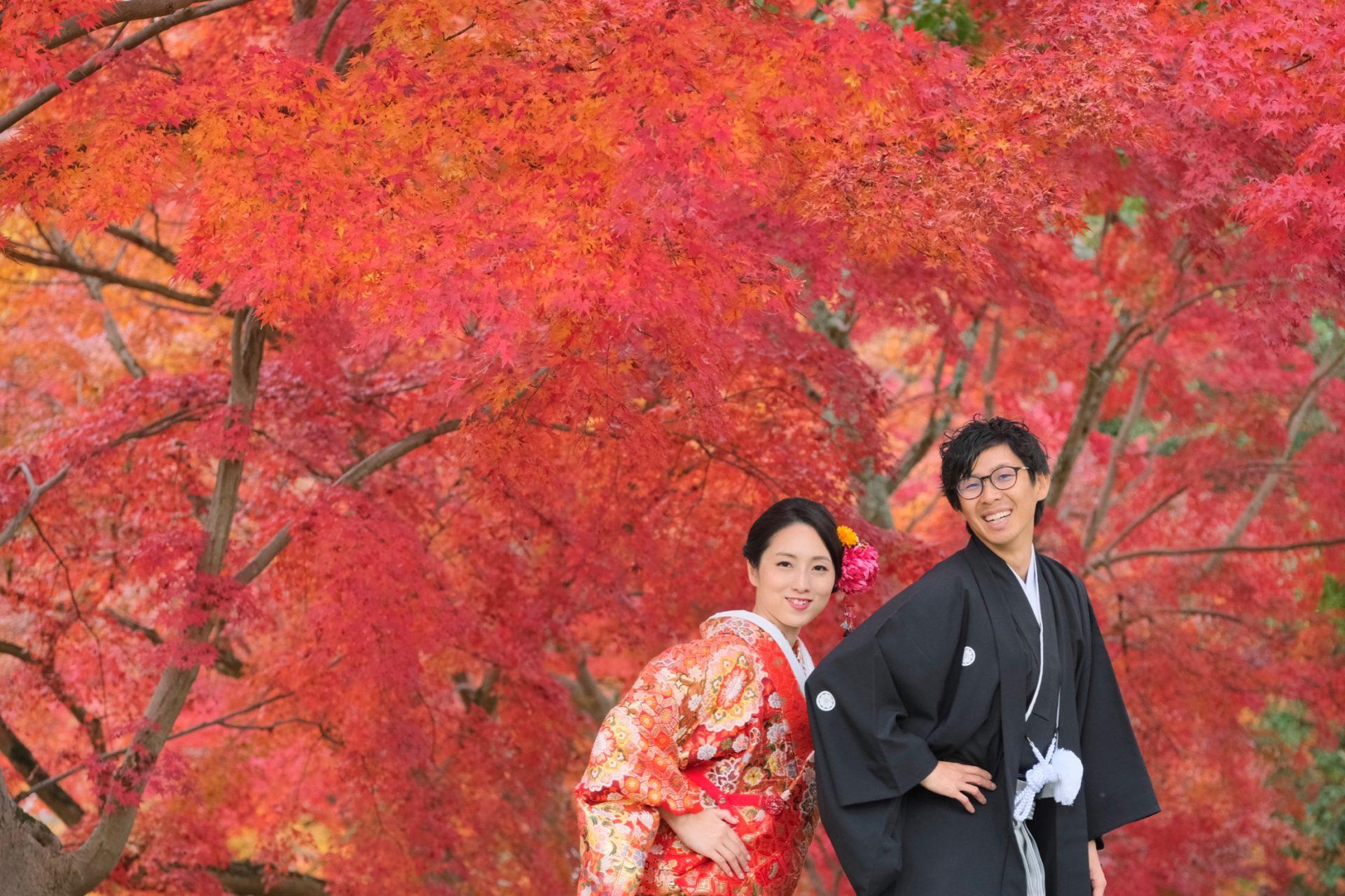紅葉の奈良で和装の前撮り
