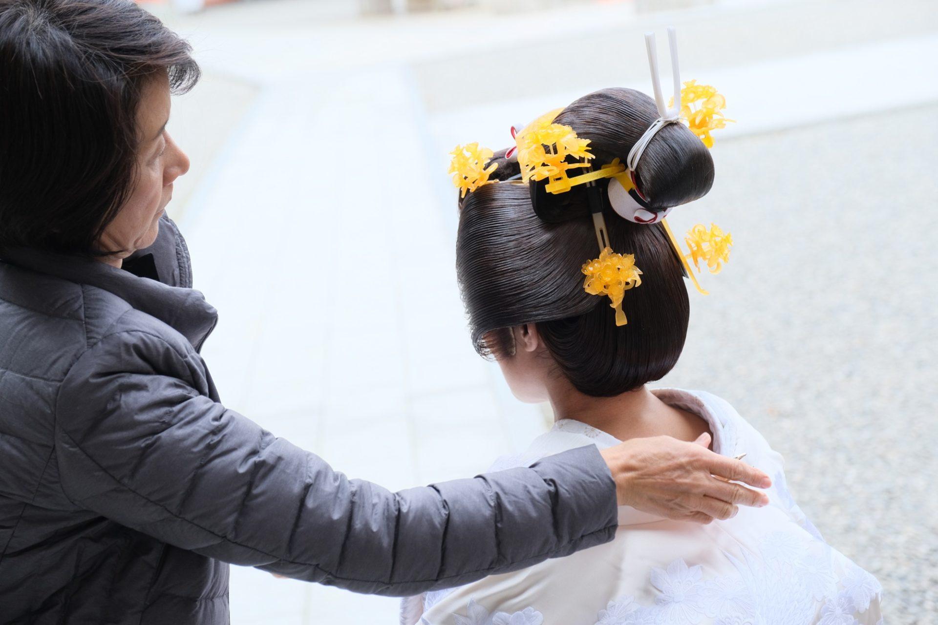 白無垢で熊野那智大社で結婚式の写真