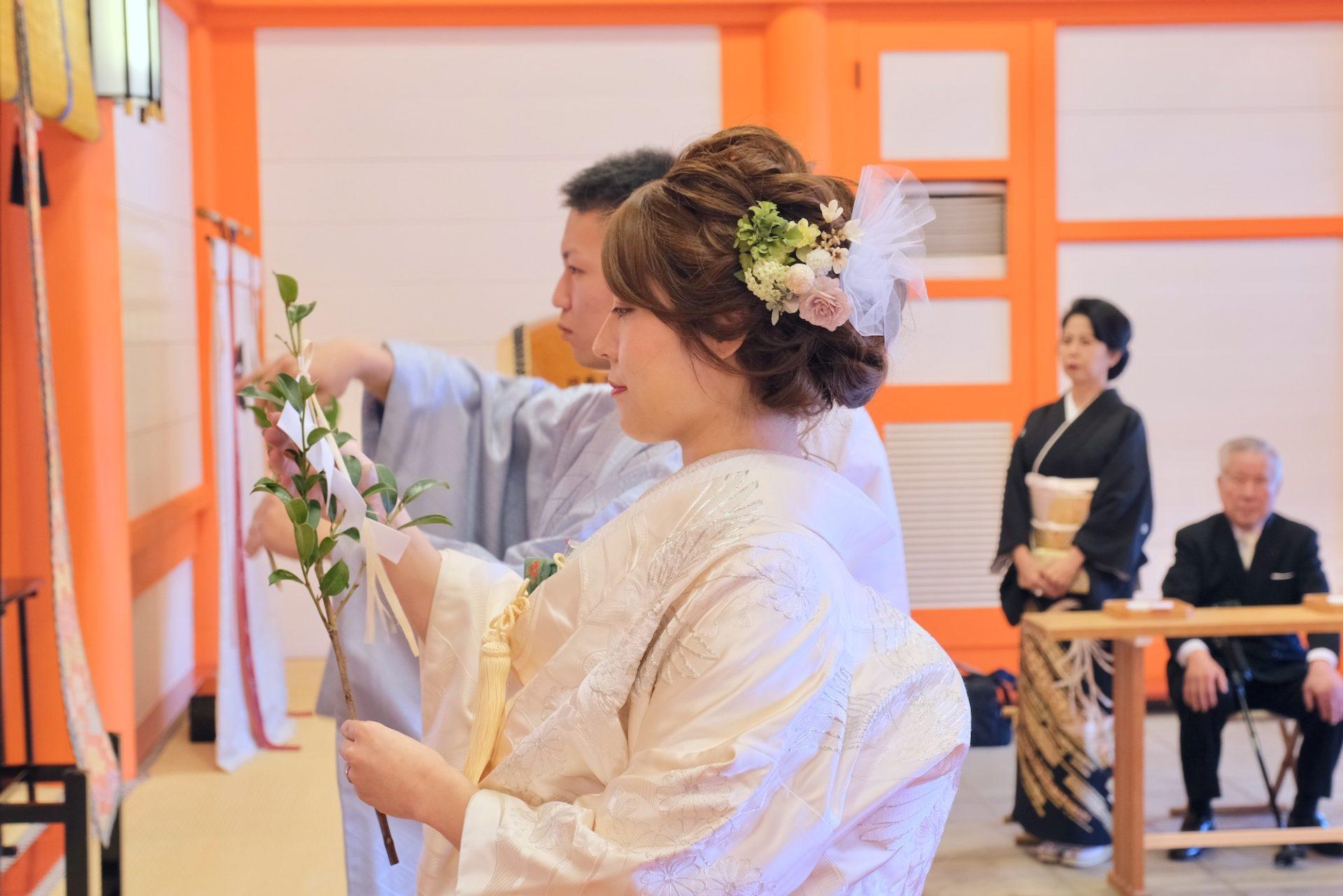 熊野那智大社で結婚式の写真
