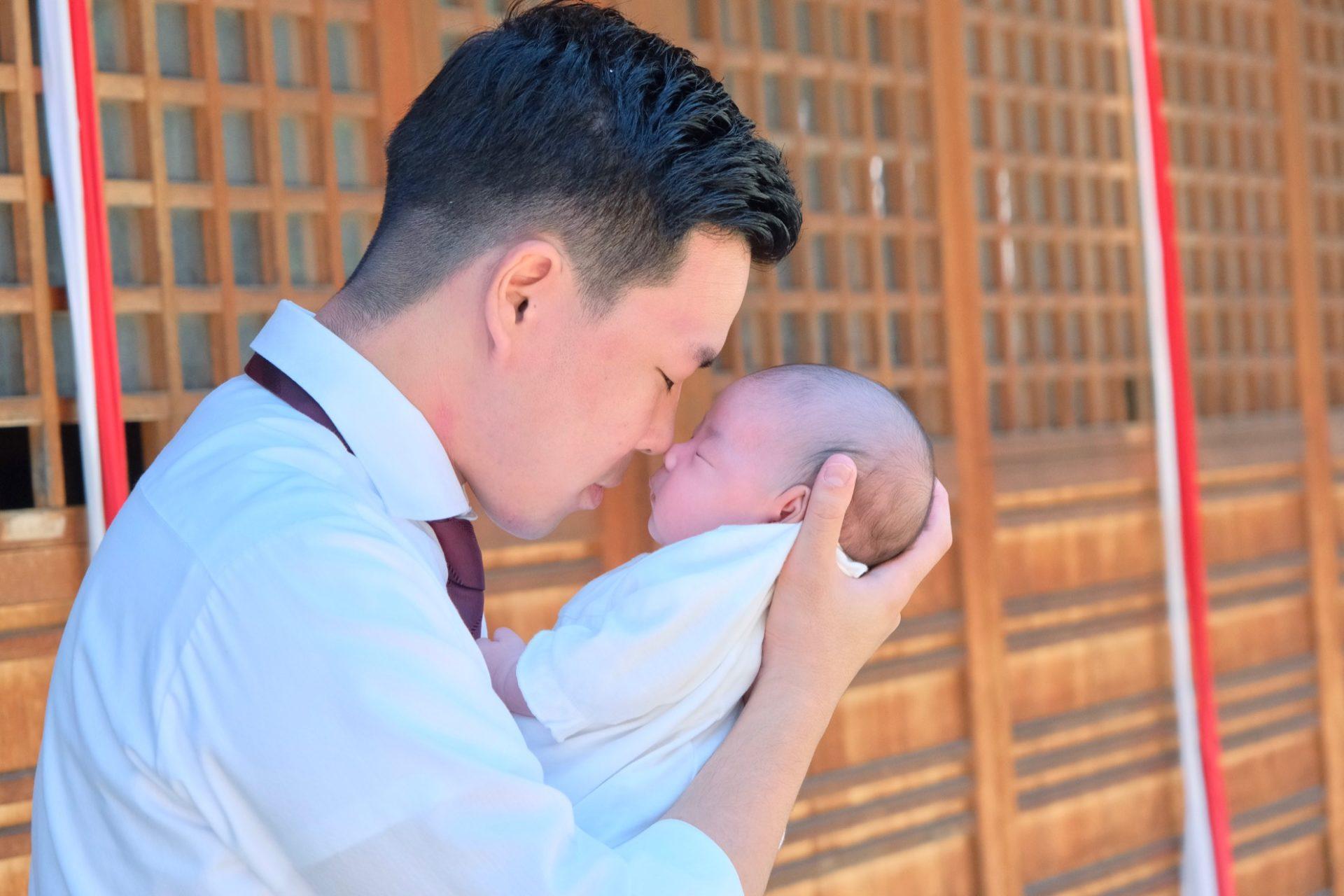 茨木神社でお宮参り写真