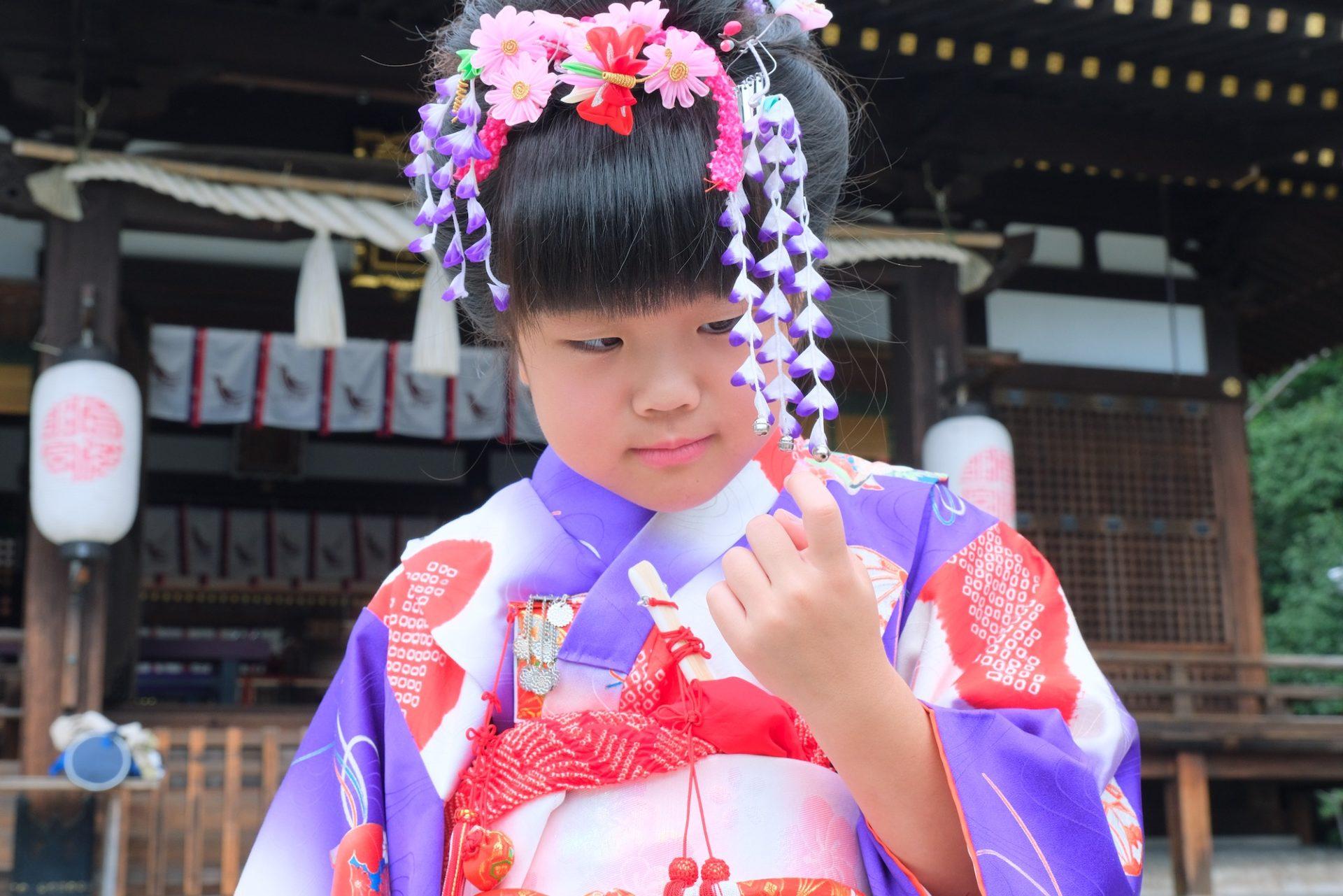弓弦羽神社で七五三の家族写真