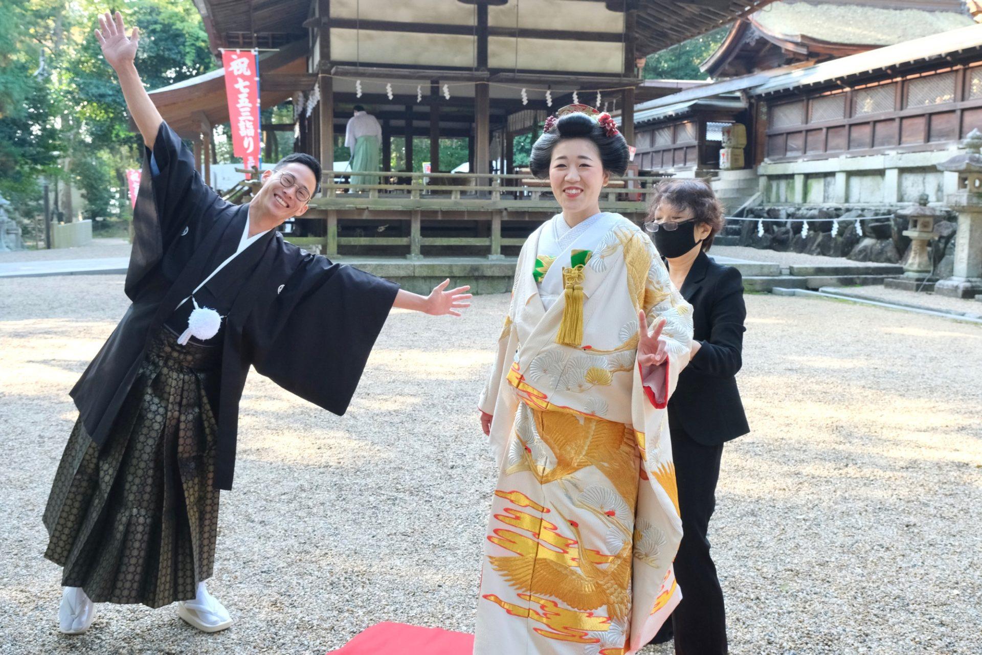 往馬大社で神前結婚式の花嫁さん