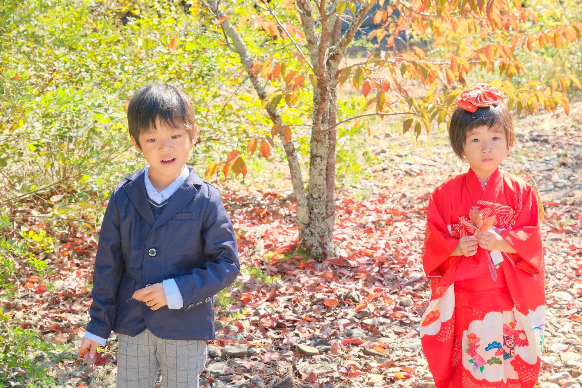 吉野神宮で七五三の女の子の着物