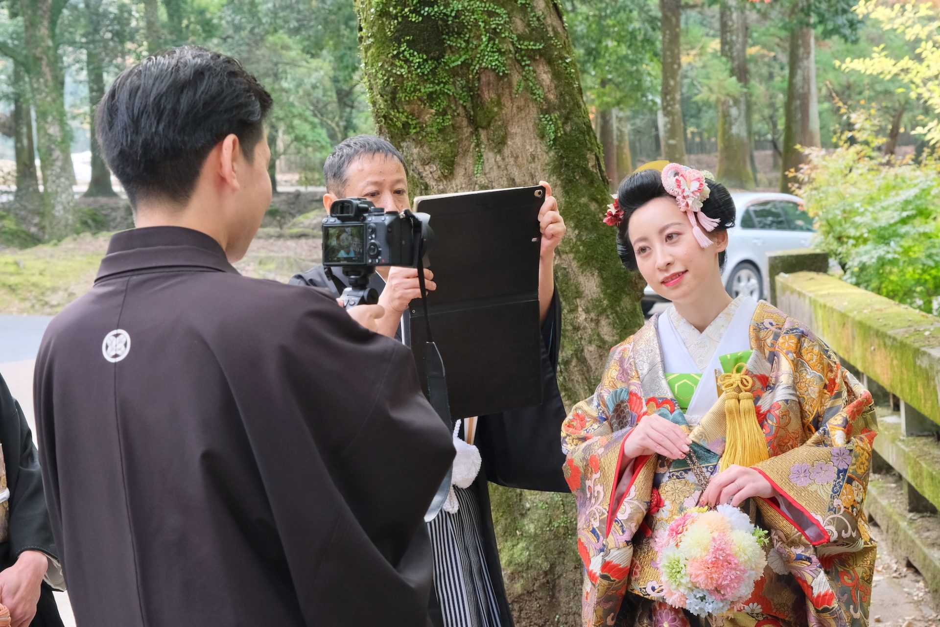 春日大社で結婚式の花嫁