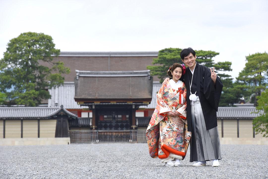 結婚記念の京都で和装の写真