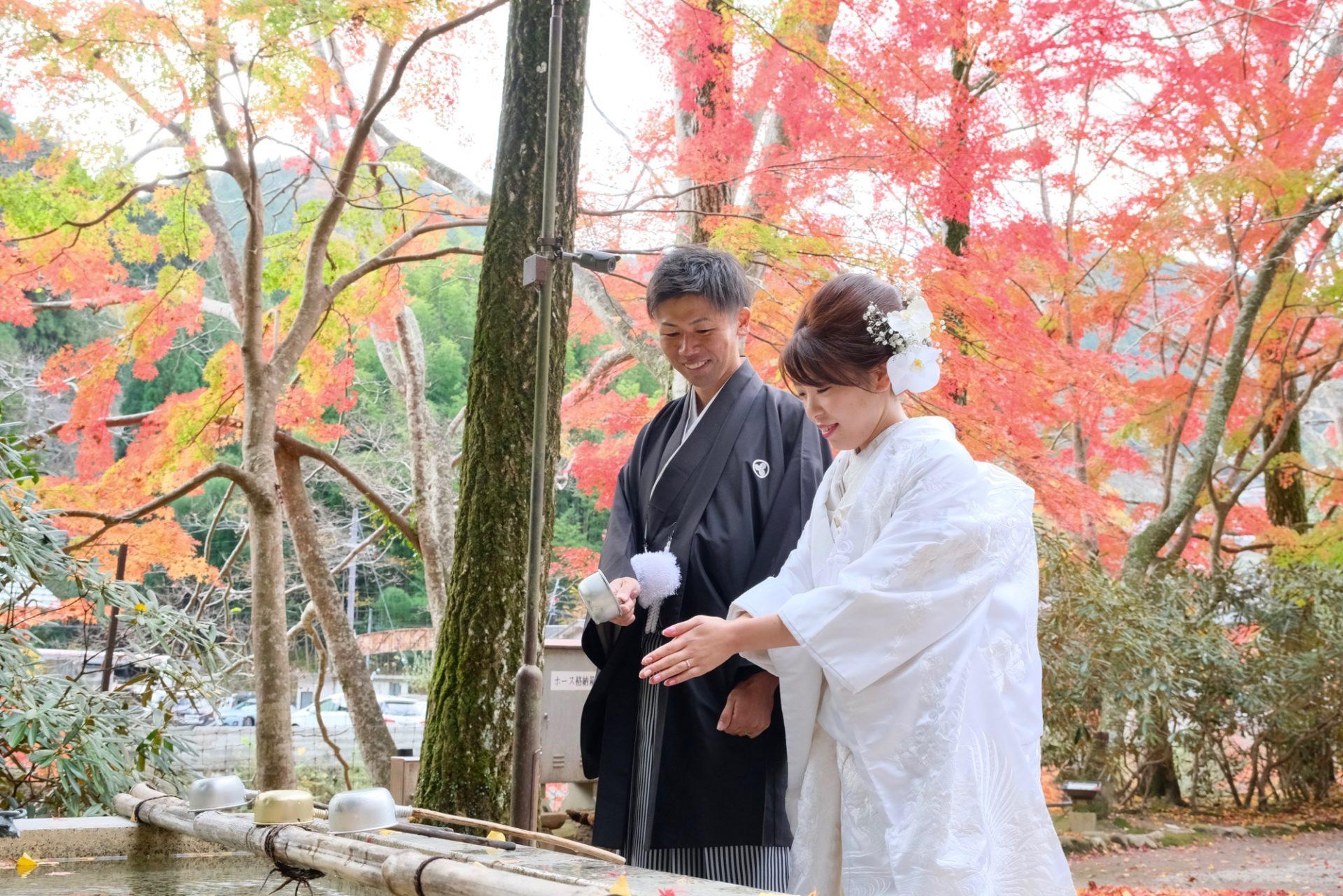 紅葉の奈良で和装フォトウエディング