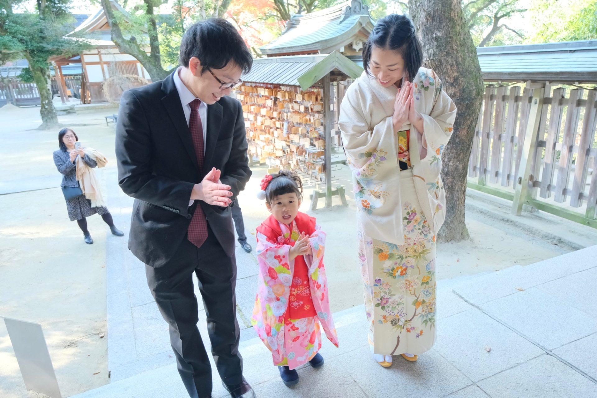 四條畷神社で七五三の着物