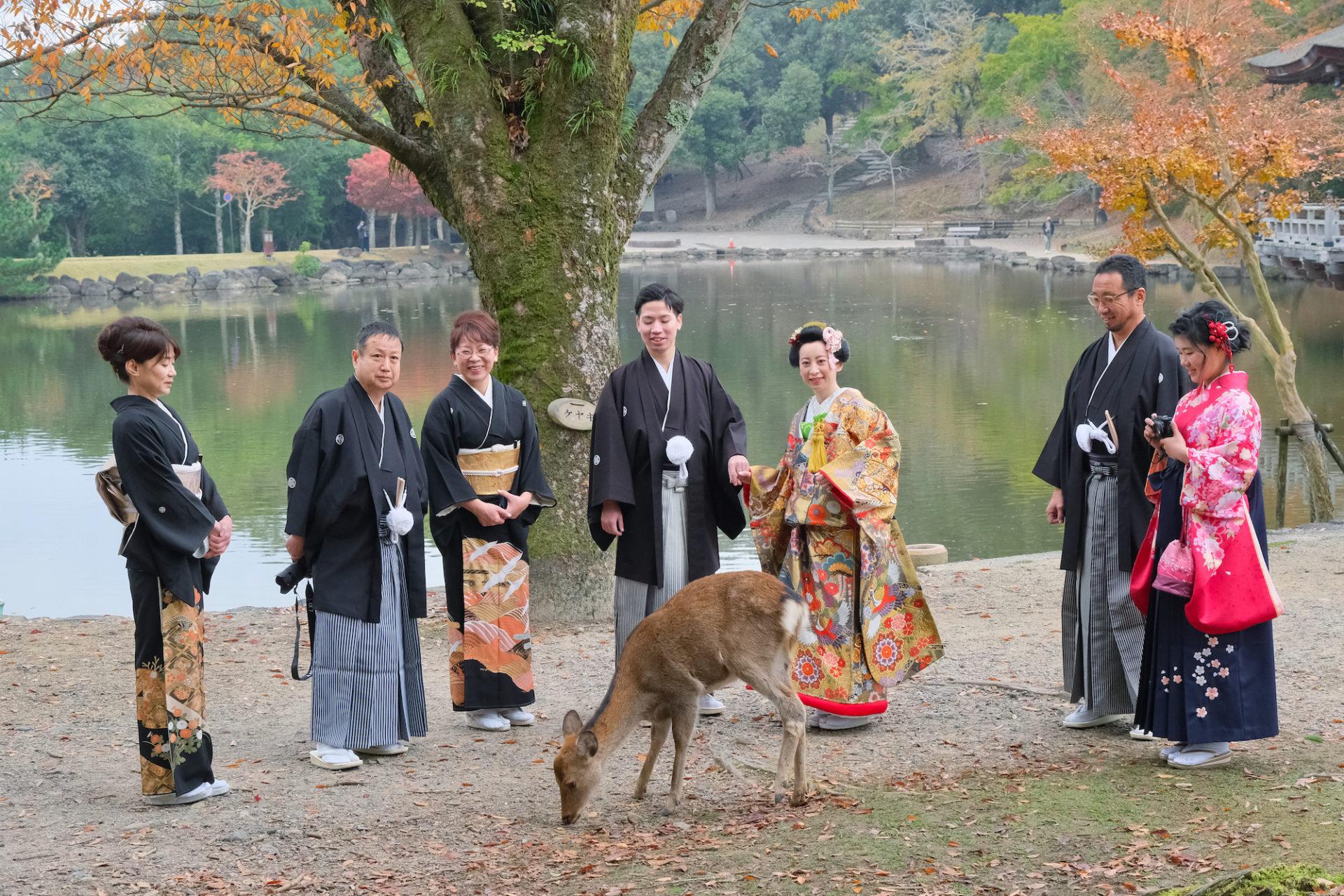 奈良で和装前撮りフォトウエディングの家族写真